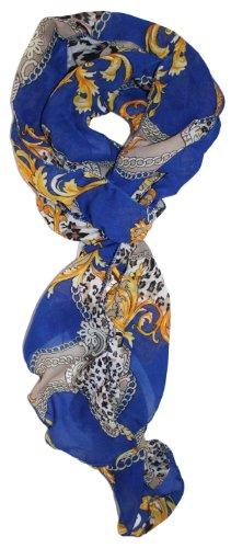 Libbysue-Skinny, Lightweight Ruched Scarf Blue Fleur De Lis Print