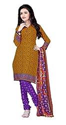 Craftliva Dark Yellow & Purple Printed Crepe Dress Material