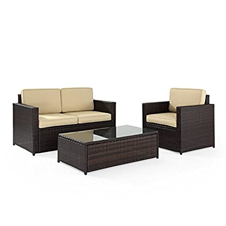 Palm Harbor 3pc Outdoor Wicker Set - Loveseat, Chair & Glass-Top Table