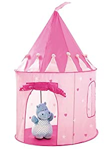 Princess Castle Play Tent with Glow in the Dark Stars, convinientlly folds in to a Carrying Case, your kids will enjoy this Foldable Pop Up pink play tent/house toy for Indoor & Outdoor Use by Fox Toys