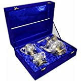 DecorifyMe Tea Gift Set Of 4pcs 1 Kettle, 1 Spoon, Sugar Bowl And 1 Milk Pot Plated With Gold Silver In A Velvet...