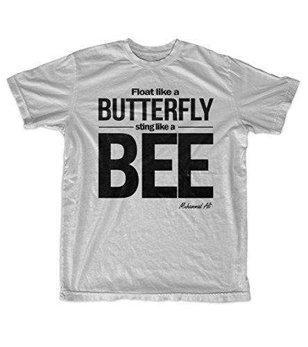 Fly Like A Butterfly Sting Like A Bee Muhammad Ali Citazione Uomo T-Shirt Maglietta Grigio Medium