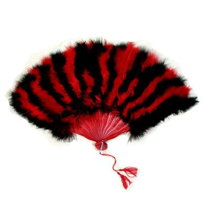 Beautiful Large Red black feather Hand Fan (Big Feather Fans compare prices)