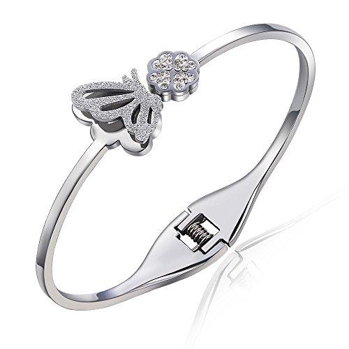 City Ouna® argento placcato 18K satinato pietra Fine Jewelry Design romantico donne ragazze farfalla Bracciale elastico con strass Swarovski Elements