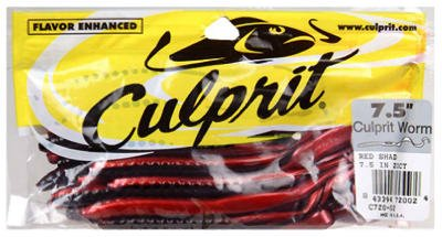Culprit C720-02 Original Culprit 7-1/2-Inch Worm Red Shad, 18-Pack