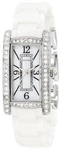 Anne Klein Women's 10/9877MPWT Swarovski Crystal Accented Silver-Tone White Ceramic Bracelet Watch