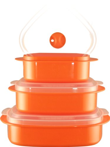 Reston Lloyd 3-Piece Microwave Steamer Set, Orange