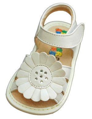 White Large Flower Sandal - Size 8 - 16 cm