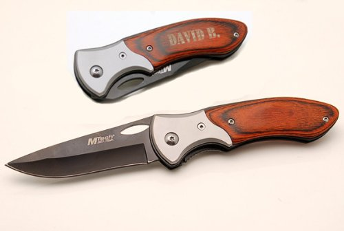 Personalized Stainless Steel Wood Handle LockBack knife
