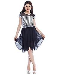 Designeez White, Black Shift Dress