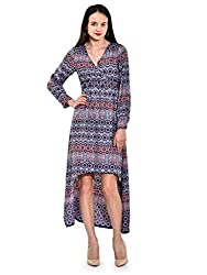 IKnow Women's Fit and Flare Navy Dress
