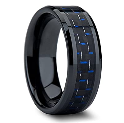 King Will Black and Blue Carbon Fiber Inlay Tungsten Mens Band