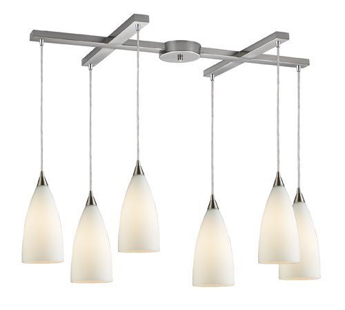 B004LWMIJY Elk 2580/6 Vesta 6-Light Pendant In White In Satin Nickel