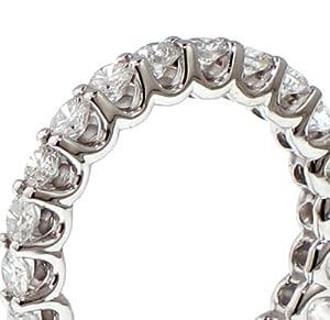 2.20 CT TW Round Diamond Eternity Wedding Band in Platinum U-prong Setting - Size 4