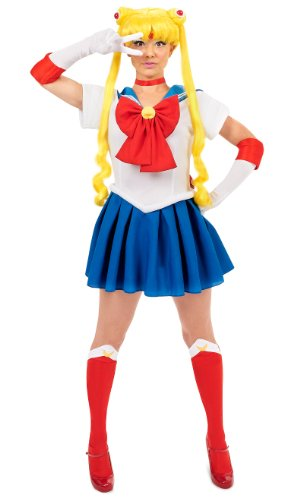 InCogneato Sailor Moon Adult Costume Red/Blue Small