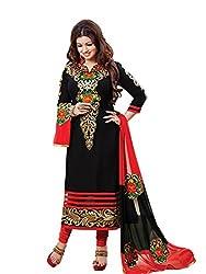 Zbuy Black Cotton Embeoidered Unstitched Salwar Suit Dress Material
