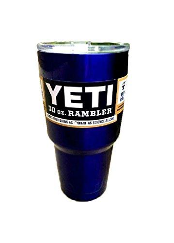 YETI Rambler Cup Custom Colors, 30 oz, Stainless Steel Tumbler, Travel Mug, Powder Coated (Intense Blue)
