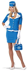 California Costumes Women's Retro Stewardess Adult, Blue, Large