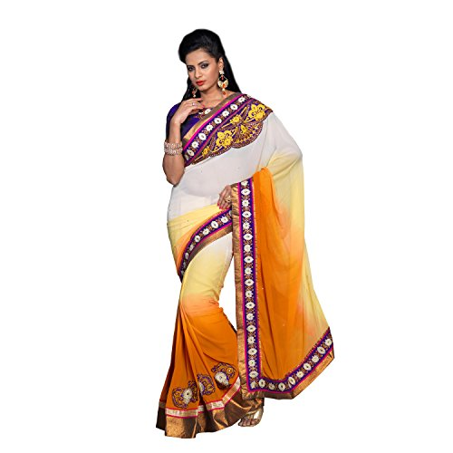 Mustard Ethniccrush Off White & Mustard Color Pure Georgette Embroidered Designer Indian Saree. (Multicolor)