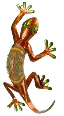 Southwest Gecko Metal Wall Sculpture Plaque, 10-inch, Full Bodied, Wall Art (Red)