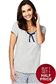 Scoop Neck Short Sleeve Pyjama Top