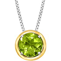 2 ct Peridot Pendant Silver and Gold