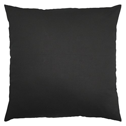 JinStyles® Cotton Canvas Accent Decorative Throw Pillow / Cushion Covers (Solid Black, Square, 1 Sham for 20x20 Inches Inserts)