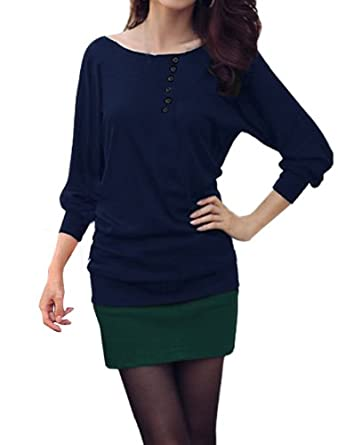 Allegra K Woman Buttons Decor Front Boat Neck Ribbed Trim Spring Top