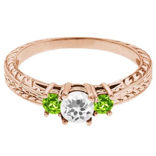0.57 Ct Round White Topaz Green Peridot 18K Rose Gold 3-Stone Ring