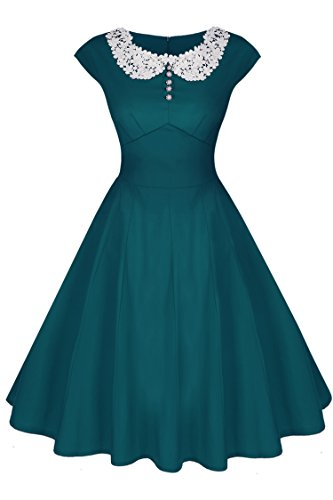 ACEVOG Women's 50s 60s Vintage Cocktail Rockabilly Swing Party Dress, Dark Green, Medium