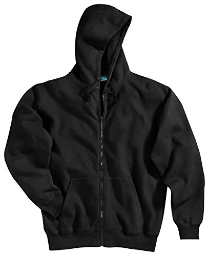 Tri-Mountain Cotton/Poly Sueded Finish Hooded Full Zip Sweatshirt. 690 - Black_5Xlt front-452590