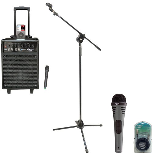 Pyle Speaker, Mic, Cable And Stand Package - Pwma940Bti 600 Watts Vhf Wireless Portable Pa System W/Microphone,I-Pod Dock & Bluetooth - Pdmik2 Professional Moving Coil Dynamic Handheld Microphone - Pmks3 Tripod Microphone Stand W/ Extending Boom - Ppfmxlr