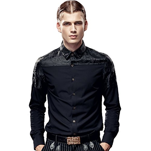 FANZHUAN Camicia A Fiori Uomo Maniche Lunghe Slim Fashion Casual Stylish Shirt Slim Fit