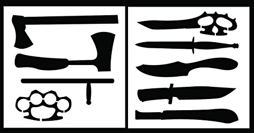 Auto Vynamics - STENCIL-KNIFESET01-20 - Detailed Handheld Weapons Stencil Set - Includes Everything From Knives To Brass Knuckles! - 20-by-20-inch