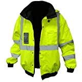 Global Glove 3M Scotchlite Reflective & Inner Fleece Lining Lined Bomber Jacket
