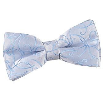 New DQT Swirl Jacquard Men's Pre-Tied Bow Tie (Baby Blue)