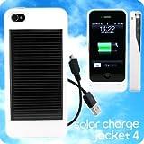 ソーラーハイブリッド充電ケース for iPhone 4◆solar charge jacket 4(ホワイト)【自社開発・直販だから安心】