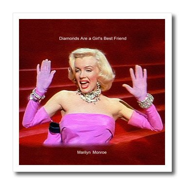 3Drose Ht_107176_1 Marilyn Monroe Singing Diamonds Are A Girls Best Friend 'Textured'-Iron On Heat Transfer For White Material, 8 By 8-Inch front-399402