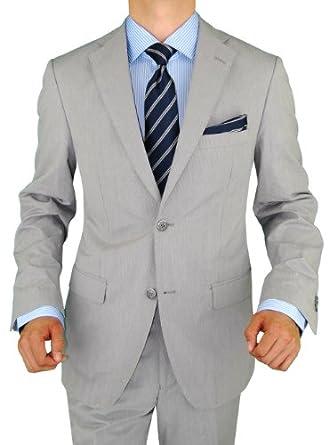 Bianco B Men's Suit New Two Button Trim Fit Suit Side Vent Jacket 2