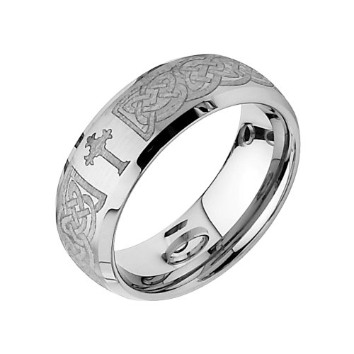 8mm Braid Pattern Laser Engraved Celtic Design with Cross Tungsten Wedding Band Ring for Men