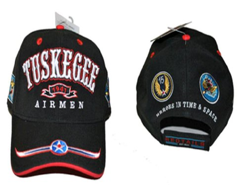 Tuskegee Airmen 1941 BLACK Baseball Cap, Red Tails 332nd Air Force, African American Military Service, Adjustable Size for Men and Women, Armed Forces Headwear