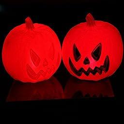 BIGBAG(TM) Pack of 2 Pumpkin Plastic LED Light Lantern Halloween Themed Lighted Window Decoration Halloween Props Bar Decoration Lawn Garden Tree Decorations