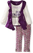 Calvin Klein Baby-Girls Infant Cream Top With Printed Pant, Purple, 18 Months