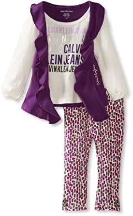 Calvin Klein Baby Girls' Cream Top With Printed Pant, Purple, 12 Months