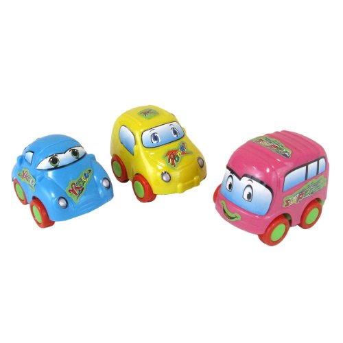 Smartots Toy Character Car Set (3-Piece), Pink, Yellow, Blue