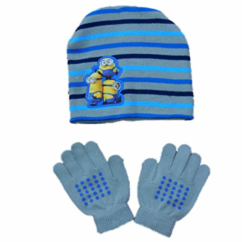 [Despicable Me Boys Gray Striped Minion Winter Hat & Gloves Beanie Set] (Despicable Me Minion Hats)