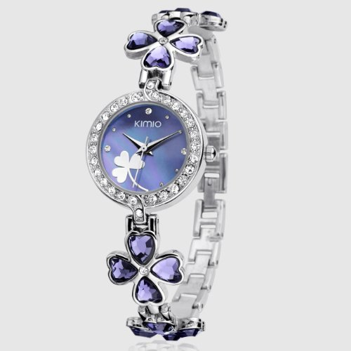 Ufingo-Korean Fashion Clover Rhinestone Casual Quartz Bracelet Watch For Women/Ladies/Girls-Purple