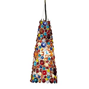 "13.75"" Multi-Colored Glass Beads with Shiny Silver Accents Hanging Cone Lamp"