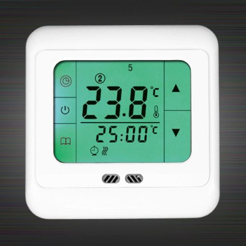 Green Digital Under Floor Heating Programmable Thermostat Touch Screen Room Temperature Controller