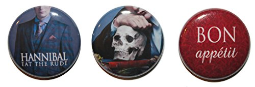 Set di 3 Button badge 'Hannibal'TV Show (25 mm), MADE IN UK, motivo a bottone, Zombie